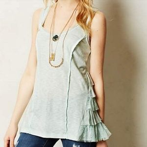 Anthropologie Lilka mint ruffle lace top!